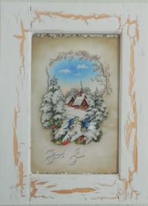 Julebilleder, collager med julemotiver. Collagen er lavet af forskellig slags papir og forestiller et snelandskab