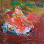 Akryl maleri hovedsageligt i brune nuancer gengiver her vulkankrateret Kerid