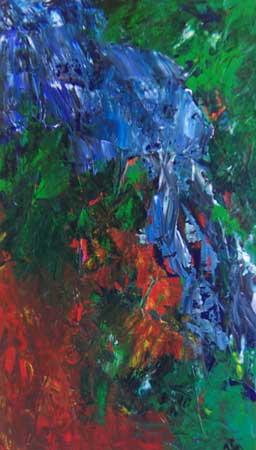 Et af Islands mange vandfald Seljanfoss er her malet på lærred med akrylfarver