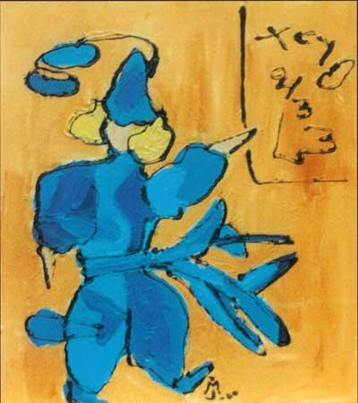 den tyrkiske videnskabsmand er helt klædt i blåt