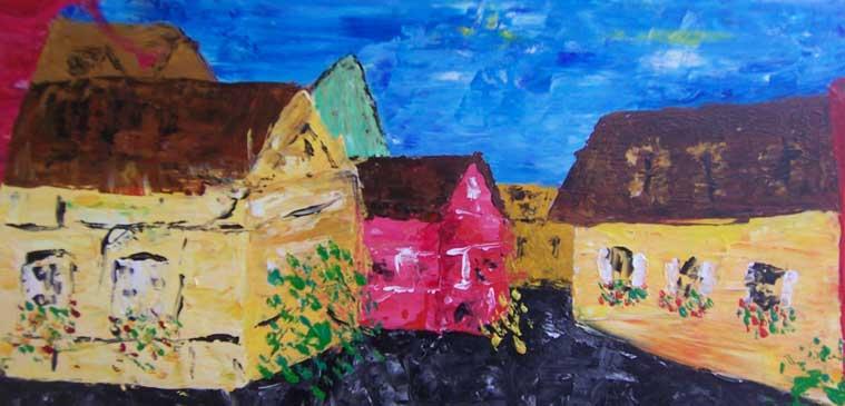 farverige huse omkranser en åben plads