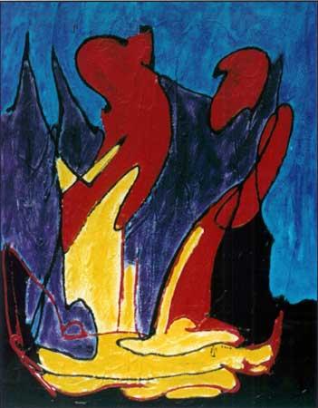 dragende maleri i gult, rødt lilla, blåt og sort