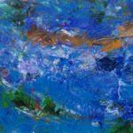Næstende overalt er der vand - en fossende elv, et vandfald eller havet - her har jeg malet en elv med akryl på lærred