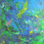 grøn og blå klæder hinanden, hvilket dette akrylmaleri tydeligt viser.