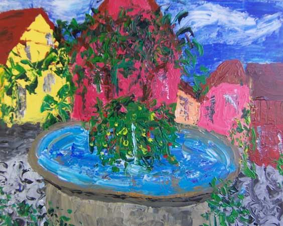 Byens fontæne på bytorvet, det naturlige samlingspunkt for byens beboere