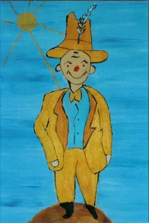den forfængleige er afbildet i gult jakkesæt og blå skjorte