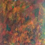 et utal af brune nuancer findes i dette maleri, hvor materialer er akryl på lærred