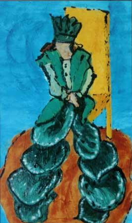 Kongen sidder på gule tronstol svøbt i en grøn kappe