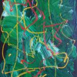 Et virvar af streger i gult krydser gennem de grønne farver