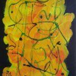 gul og orange på sort baggrund, akryl på lærred.