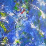 malerier, akryl på lærred overvejende blå nuancer