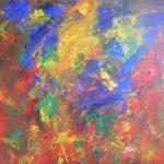 akryl maleri i smukke efterårsfarver