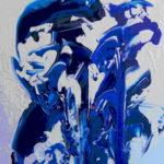malerier, her malet med hvidt og blåt akrylmaling på lærred
