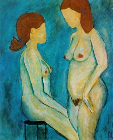 nøgenstudio malet med akryl på lærred