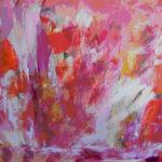 Ild og lava sprudler op af vulkanen, når den er i udbrud, gengivet her i et akrylmaleriet
